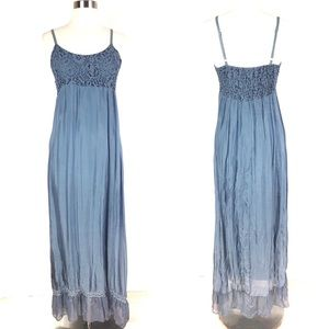 New LOLA maxi dress blue silk blend smocked beads